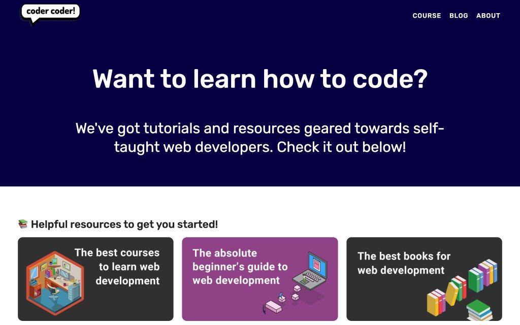 Screenshot of the website Coder Coder