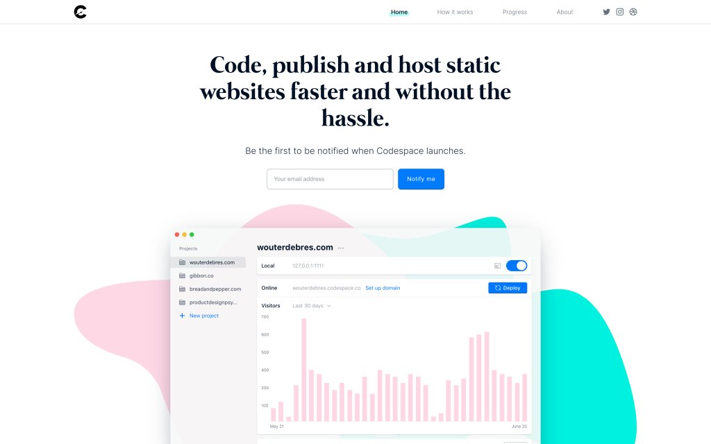 Screenshot of the website Codespace