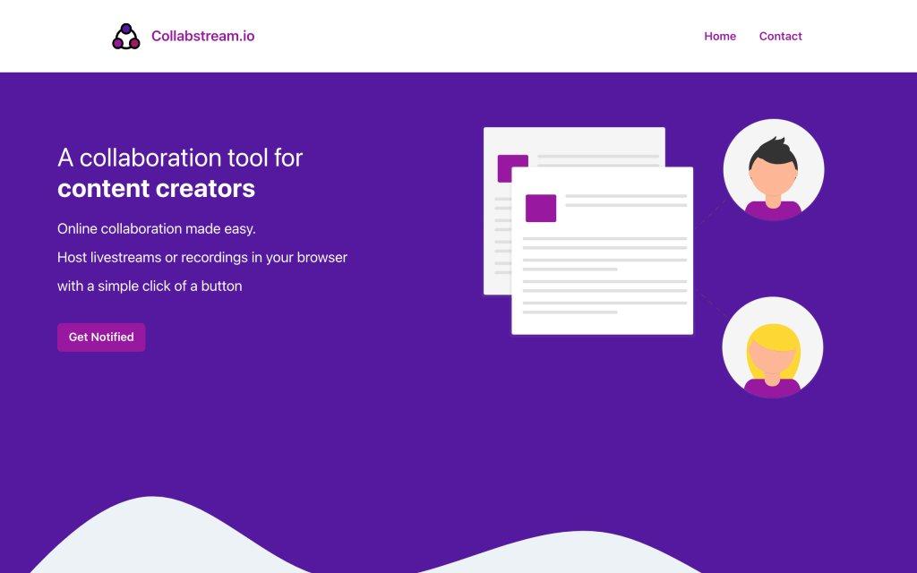 Screenshot of the website CollabStream