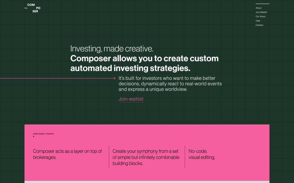Screenshot of the website Composer