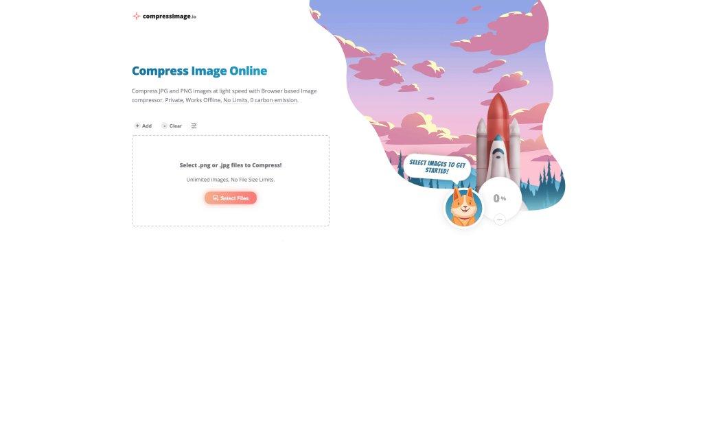 Screenshot of the website Compress Images Online