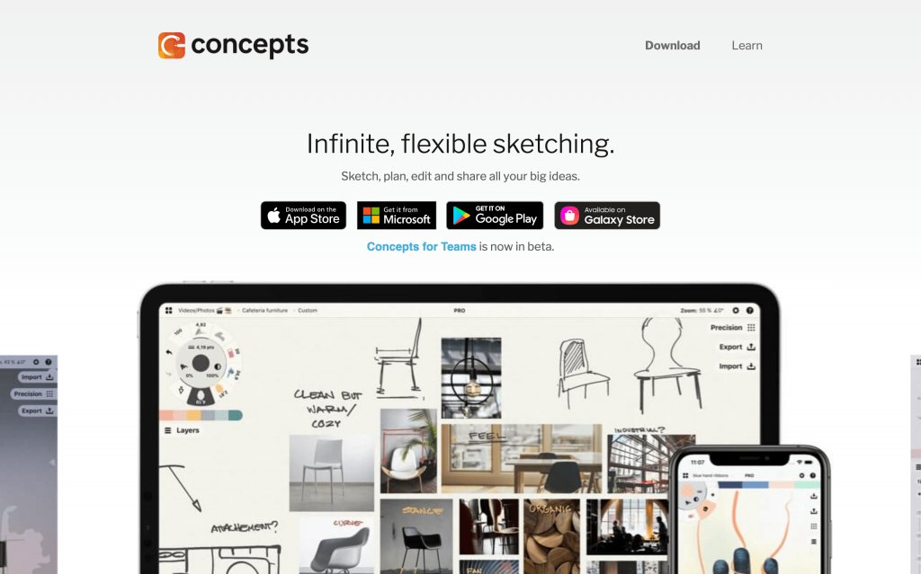 Screenshot of the website Concepts App