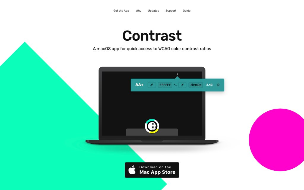 Screenshot of the website Contrast app