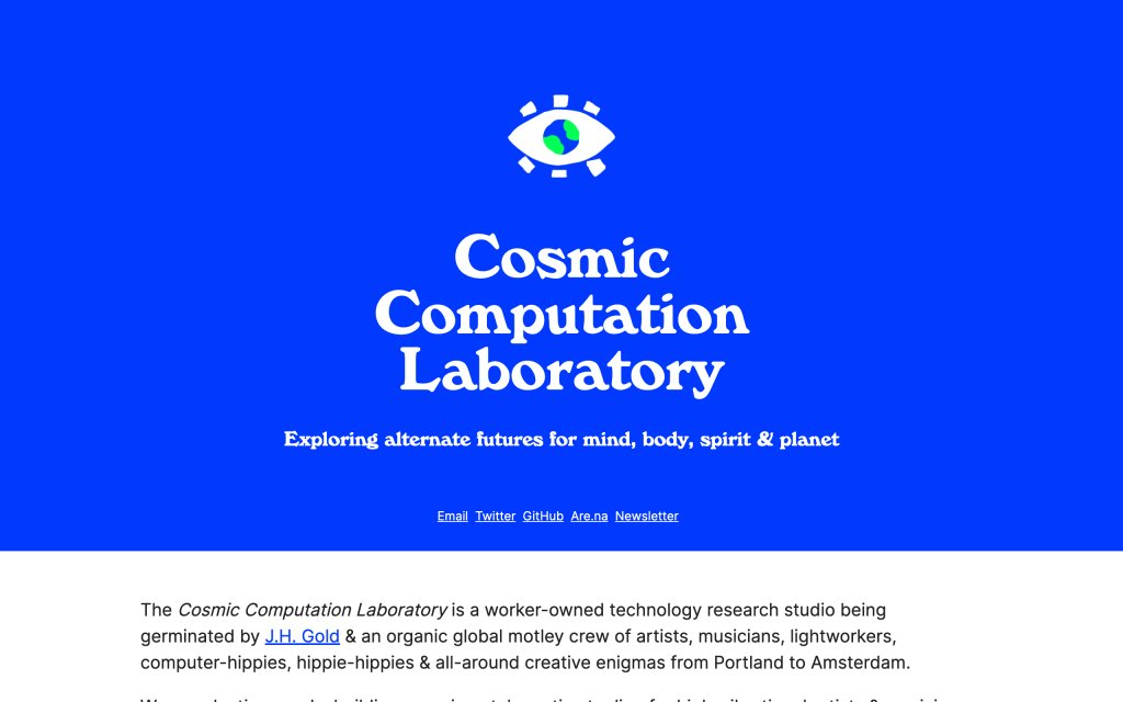 Screenshot of the website Cosmic Computation