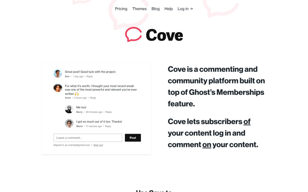 Screenshot of the website Cove Chat