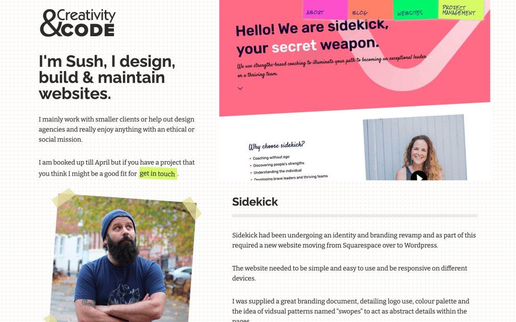 Screenshot of the website Creativity & Code