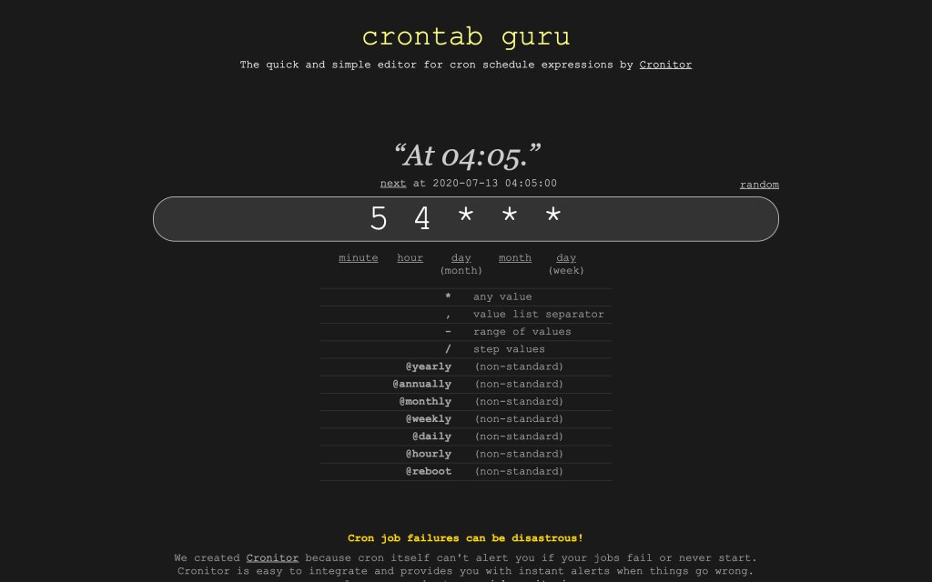 Screenshot of the website Crontab.guru