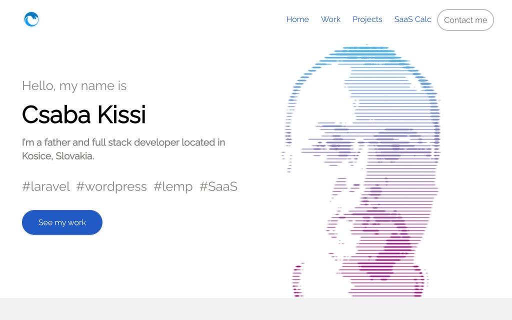 Screenshot of the website Csaba Kissi