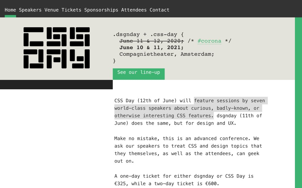 Screenshot of the website CSS Day 2020