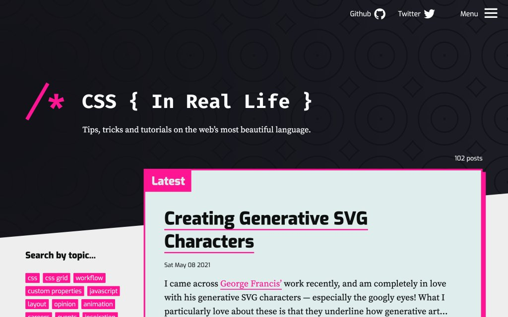Screenshot of the website CSS { In Real Life }