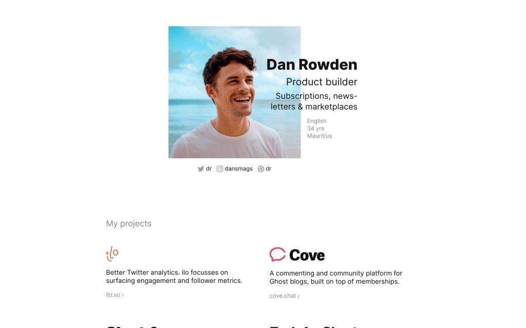 Screenshot of the website Dan Rowden