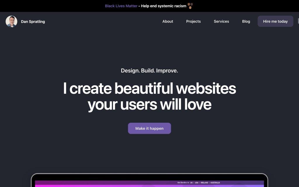 Screenshot of the website Dan Spratling