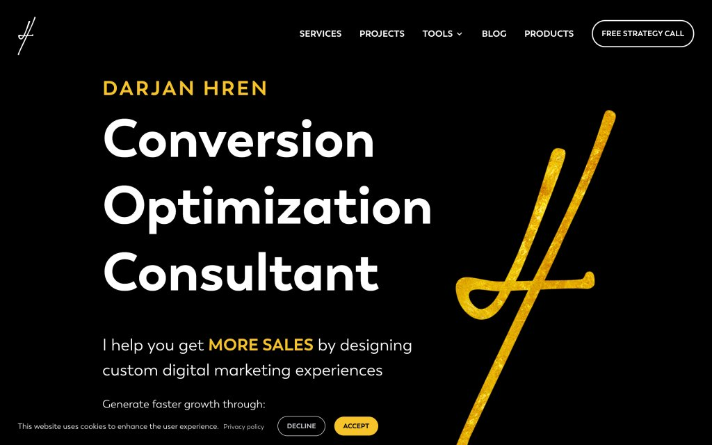 Screenshot of the website Darjan Hren