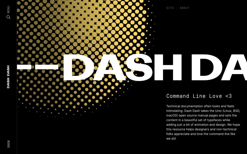 Screenshot of the website Dash Dash