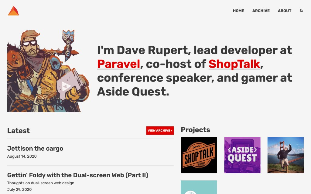 Screenshot of the website Dave Rupert