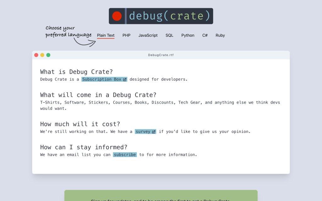 Screenshot of the website Debug Crate