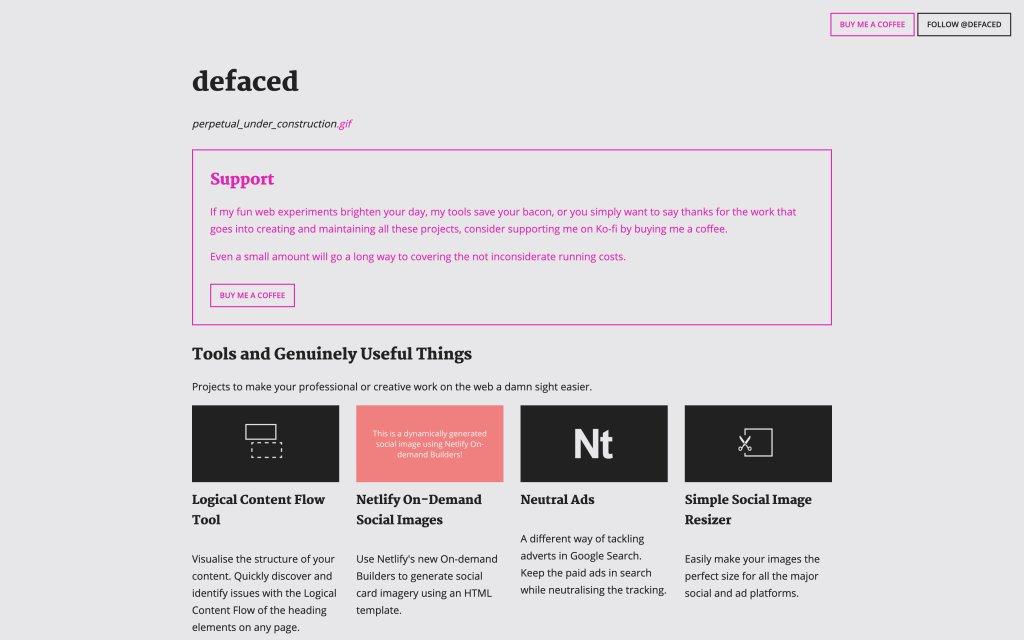 Screenshot of the website defaced.dev