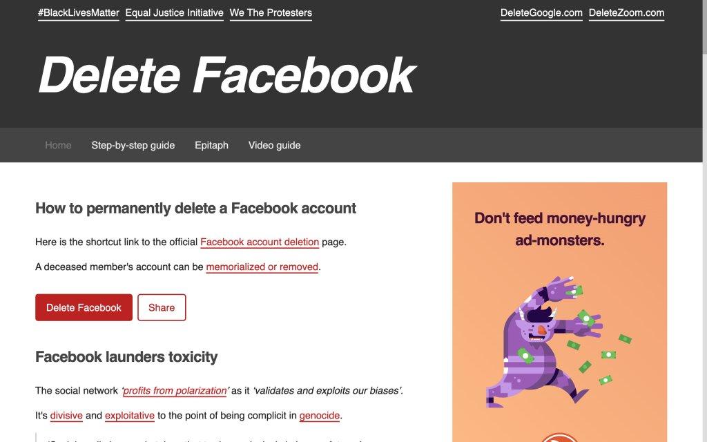 Screenshot of the website Delete Facebook