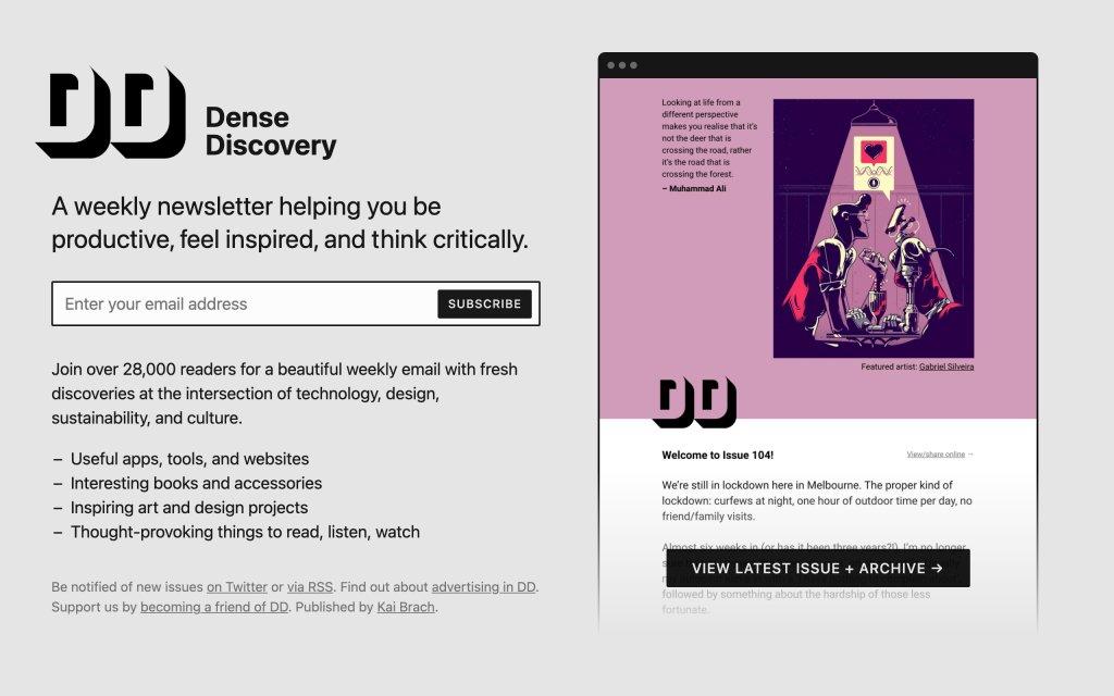 Screenshot of the website Dense Discovery