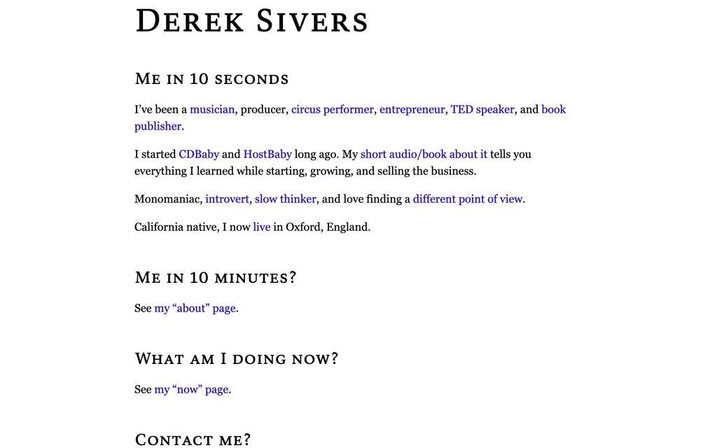 Screenshot of the website Derek Sivers