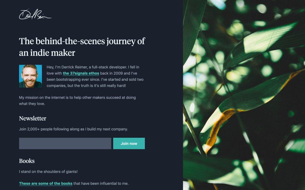 Screenshot of the website Derrick Reimer