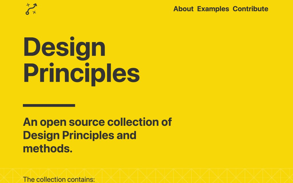 Screenshot of the website Design Principles