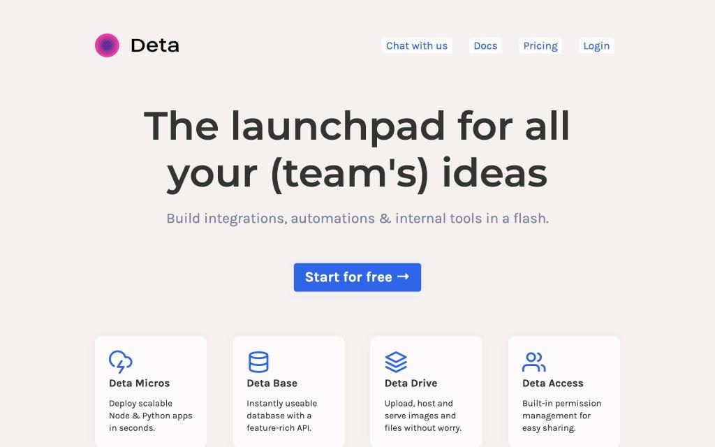 Screenshot of the website Deta