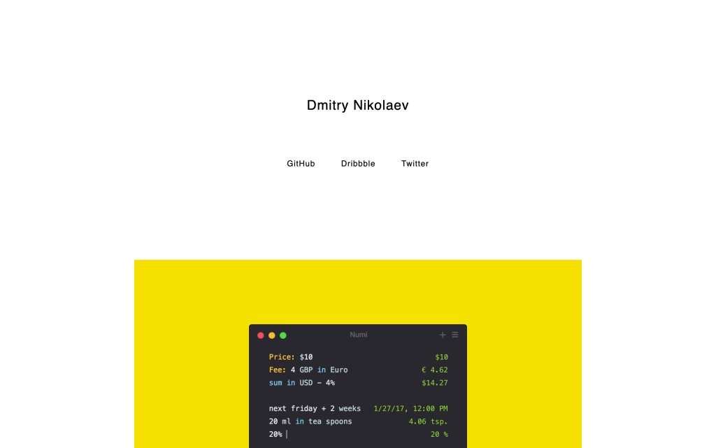 Screenshot of the website Dmitry Nikolaev