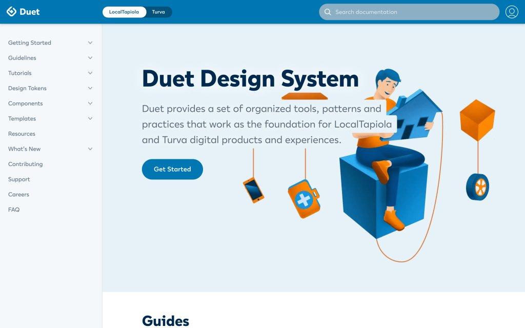 Screenshot of the website Duet Design System