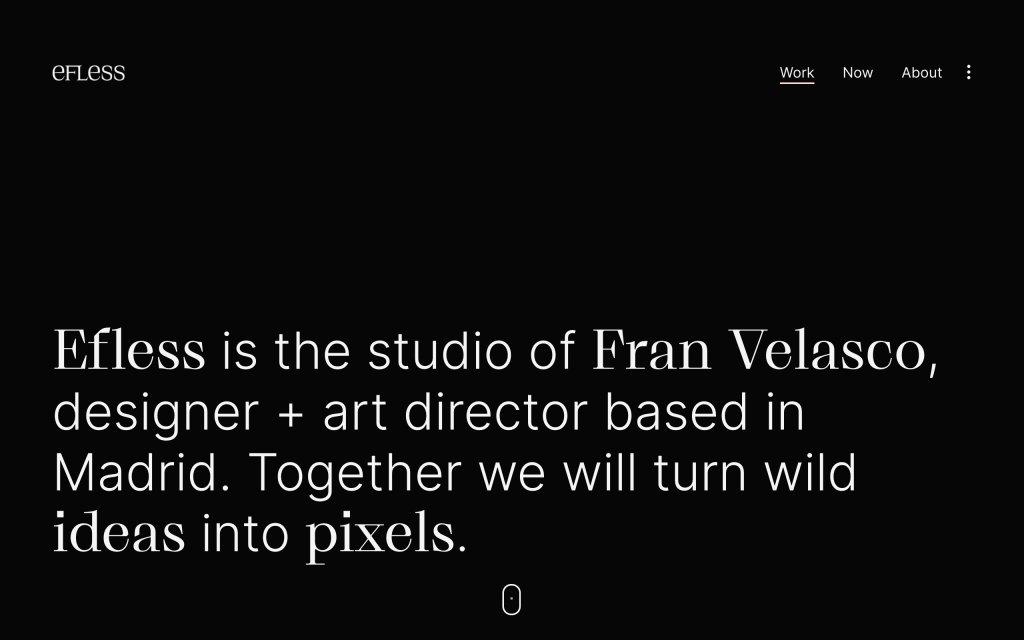 Screenshot of the website Efless
