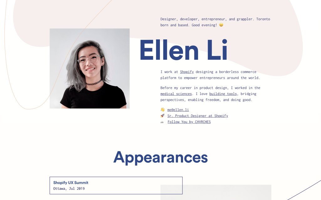 Screenshot of the website Ellen Li