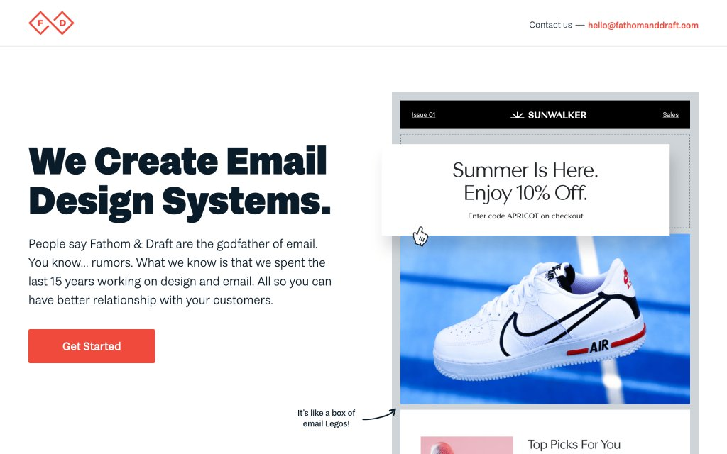 Screenshot of the website Email Design Systems