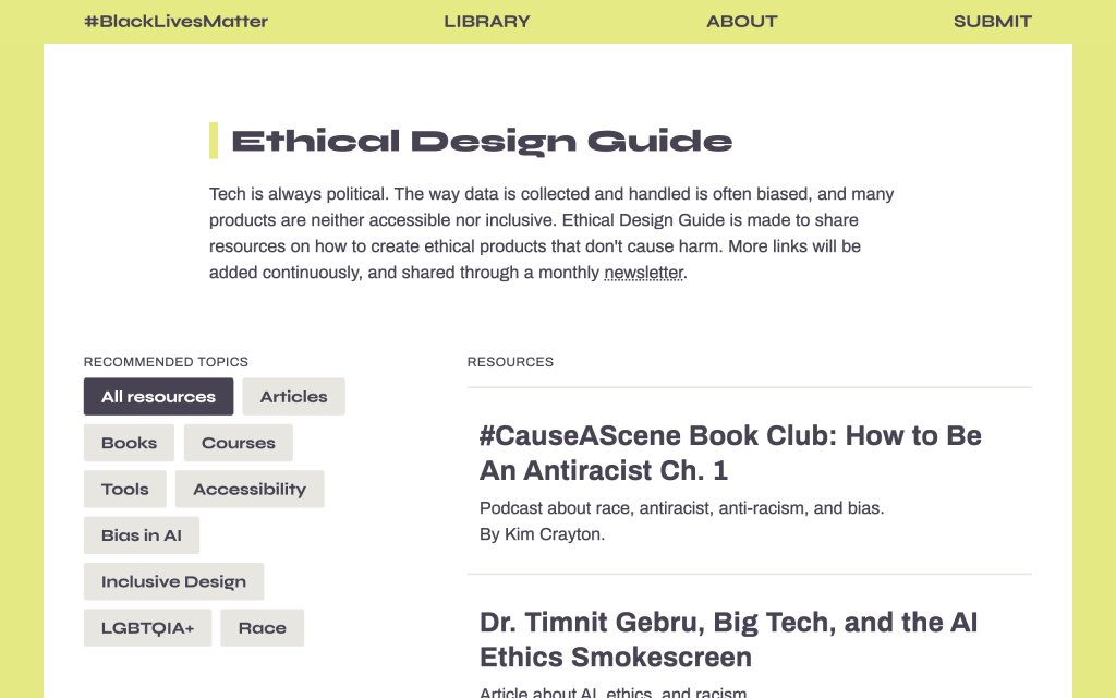 Screenshot of the website Ethical Design Guide