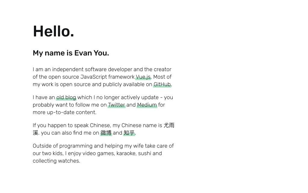 Screenshot of the website Evan You