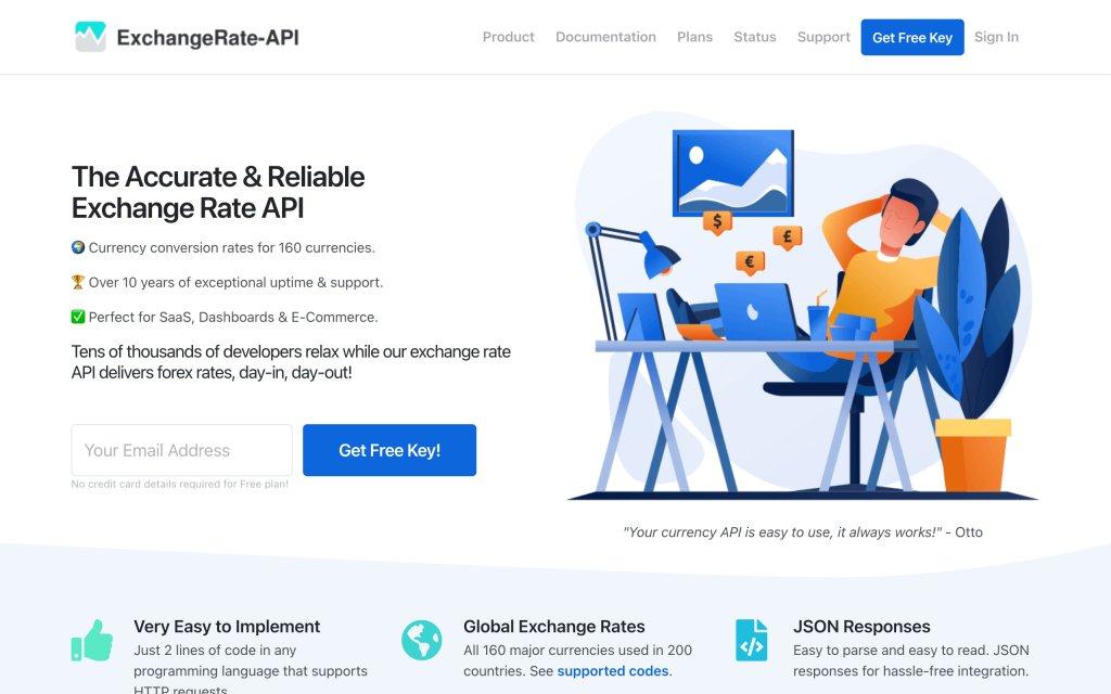 Screenshot of the website ExchangeRate-API
