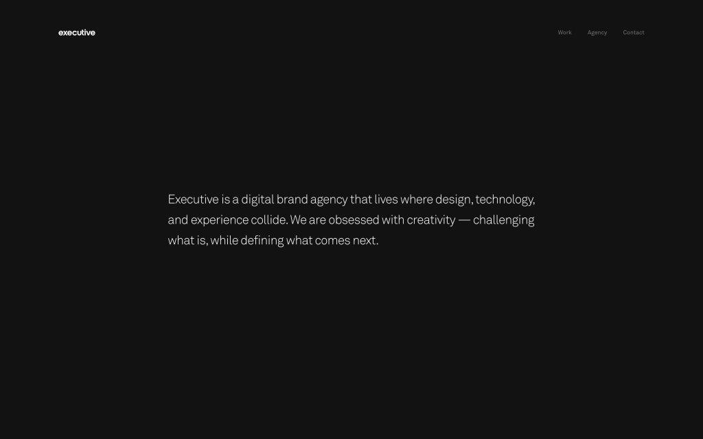 Screenshot of the website Executive