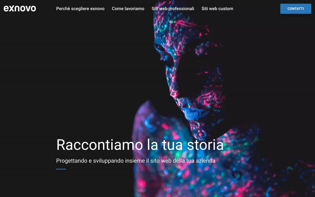 Screenshot of the website Exnovo Studio