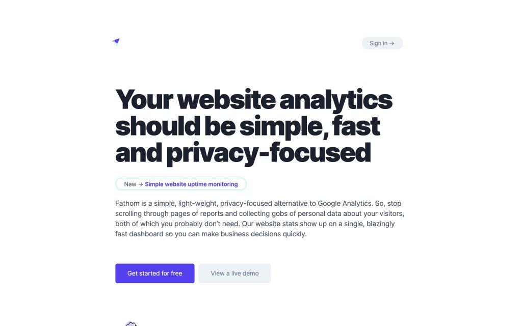 Screenshot of the website Fathom