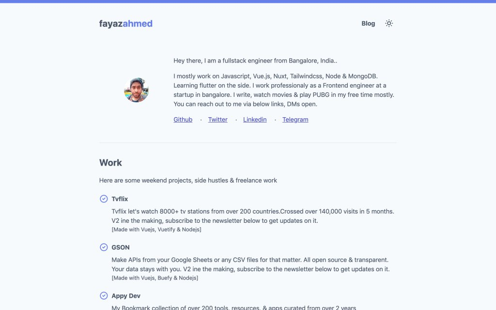 Screenshot of the website Fayaz Ahmed