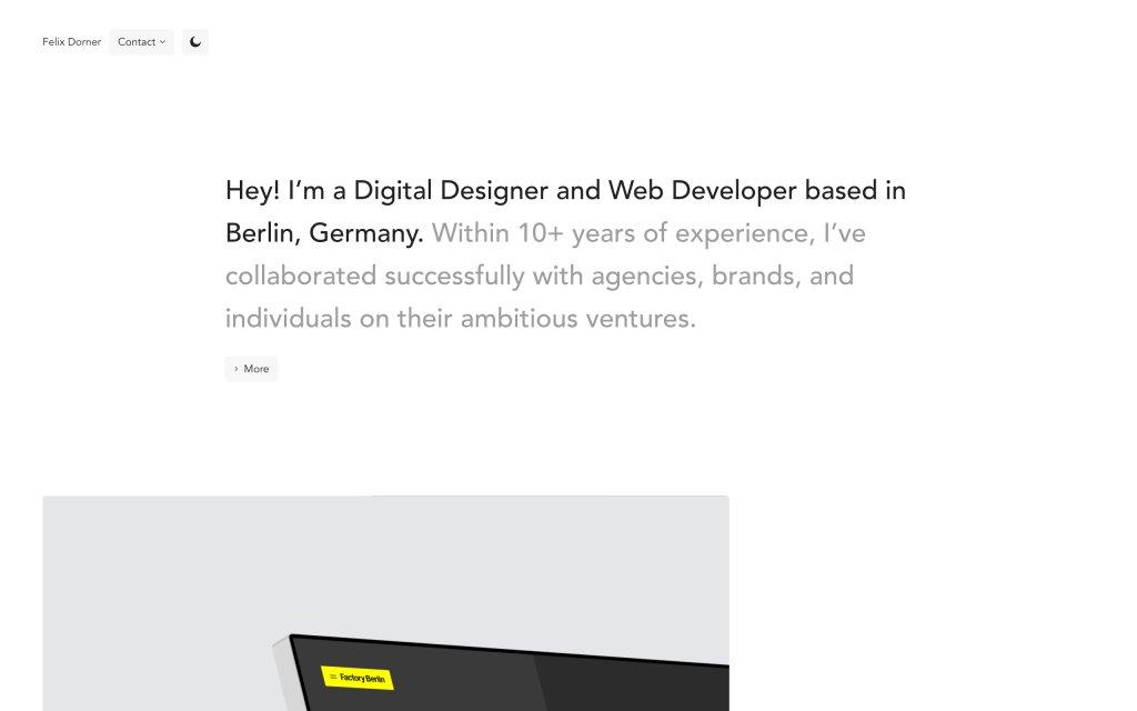 Screenshot of the website Felix Dorner