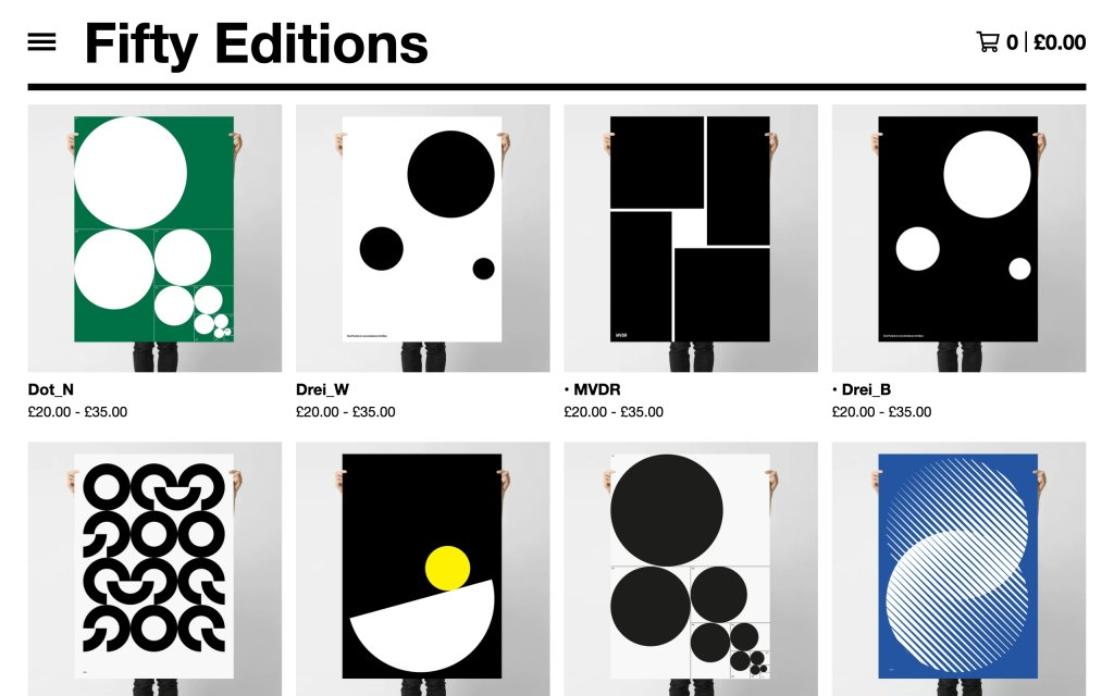 Screenshot of the website Fifty Editions