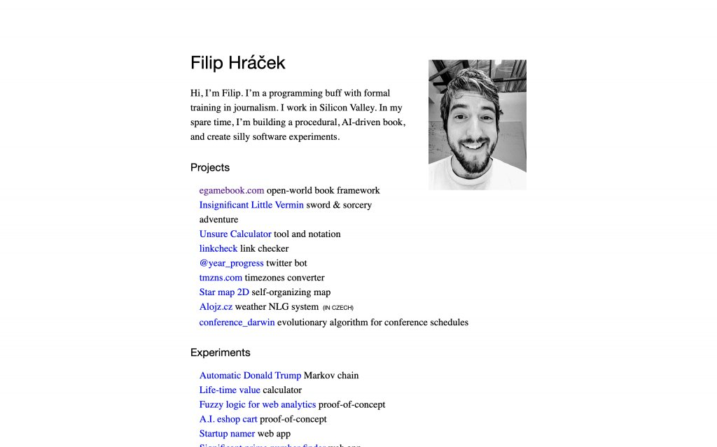 Screenshot of the website Filip Hráček