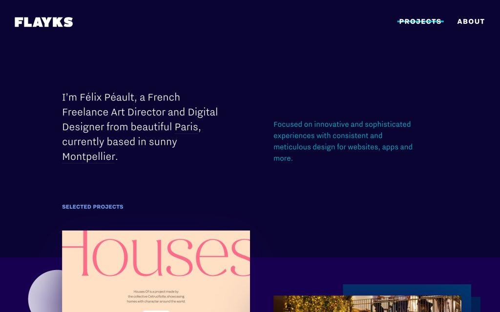 Screenshot of the website Flayks