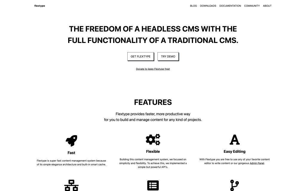 Screenshot of the website Flextype