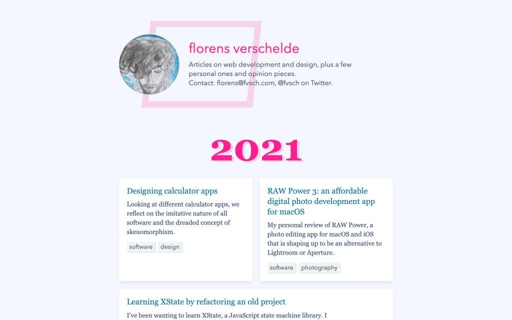 Screenshot of the website Florens Verschelde