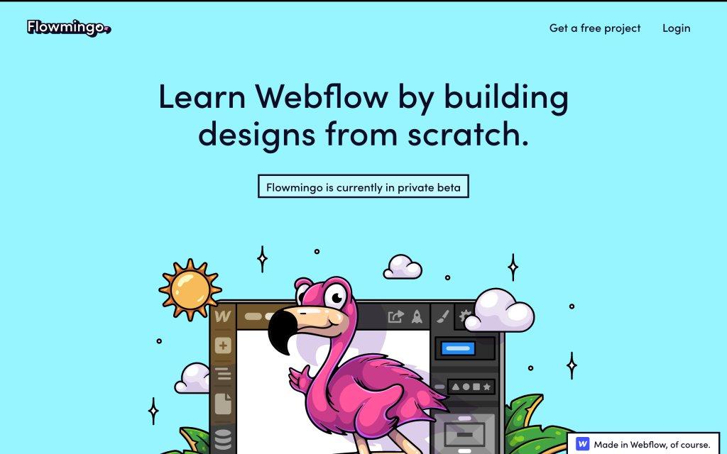 Screenshot of the website Flowmingo