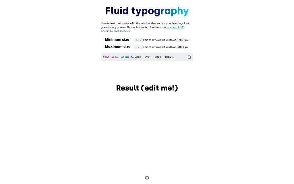 Screenshot of the website Fluid Typography