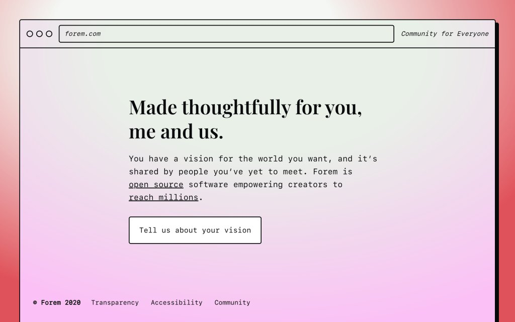 Screenshot of the website Forem