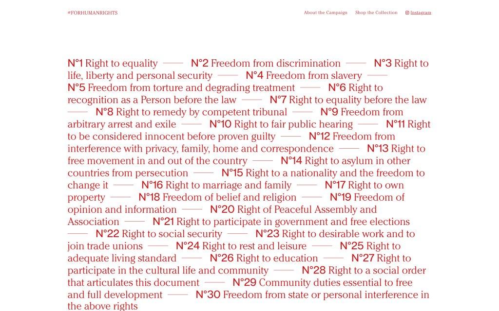 Screenshot of the website #FORHUMANRIGHTS