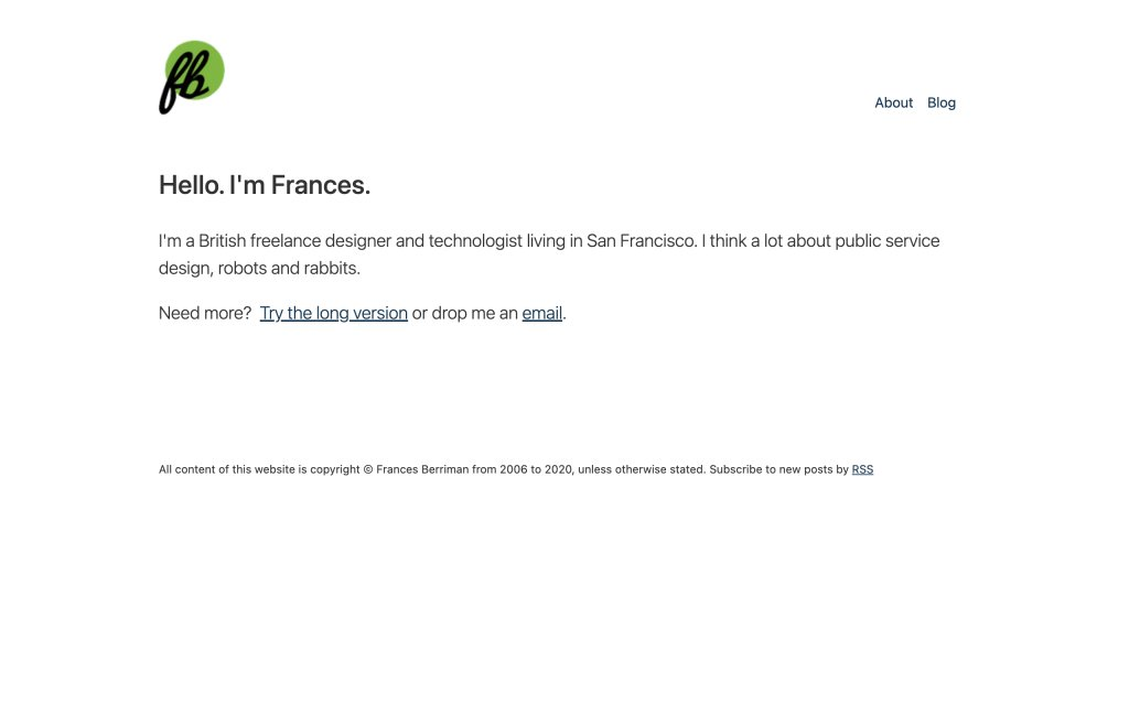 Screenshot of the website Frances Berriman